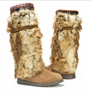 MUK LUKS Leela Faux Fur Knee-high Boots 8 8.5 NEW!